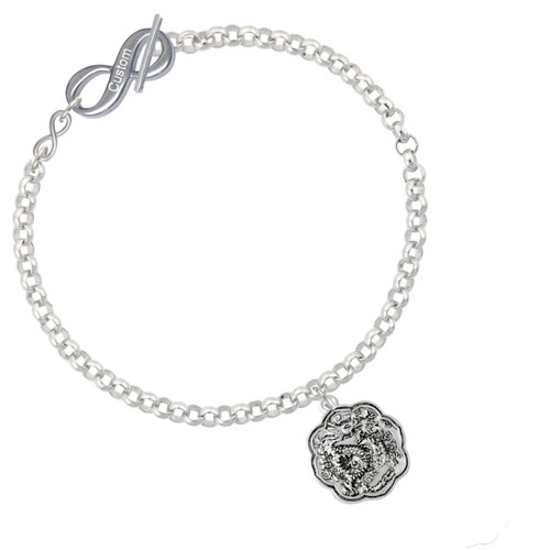 Dragon and Phoenix Medallion To Infinity Custom Engraved Toggle Bracelet