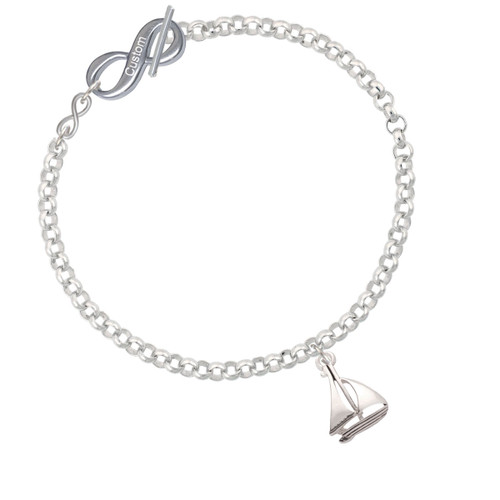 Antiqued Sailboat To Infinity Custom Engraved Toggle Bracelet