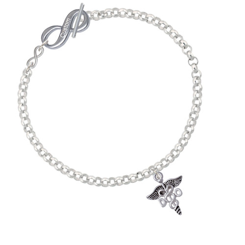 Caduceus - DO To Infinity Custom Engraved Toggle Bracelet