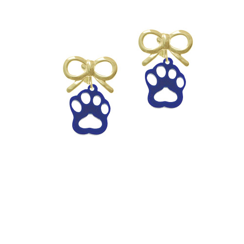 Acrylic Small Paw Navy Blue Gold-tone Bow Crystal Clip On Earrings