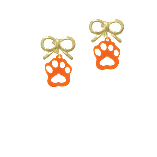 Acrylic Small Paw Orange Gold-tone Bow Crystal Clip On Earrings