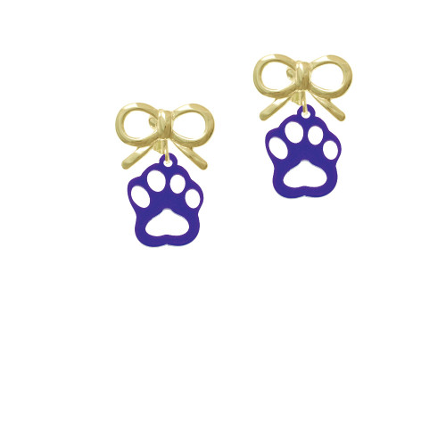 Acrylic Small Paw Purple Gold-tone Bow Crystal Clip On Earrings