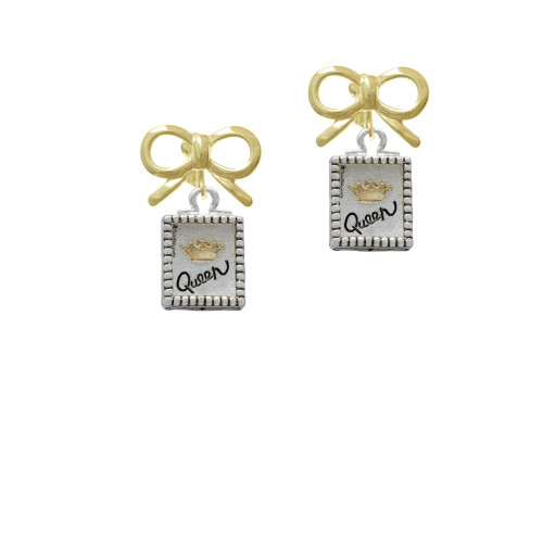 Shadow Box ''Queen'' with Gold Tone Crown Gold-tone Bow Crystal Clip On Earrings
