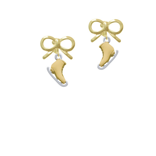 3-D Gold Tone Ice Skate Gold-tone Bow Crystal Clip On Earrings