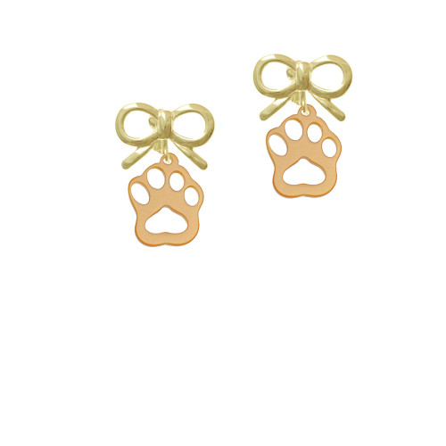 Acrylic Small Paw Gold Tone Gold-tone Bow Crystal Clip On Earrings