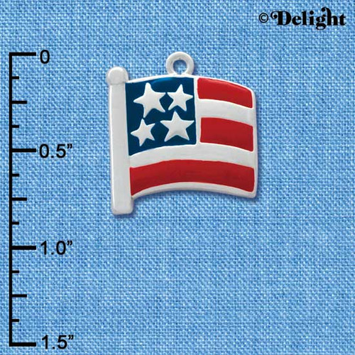 C1002 tlf - Large USA Patriotic Flag - Silver Plated Charm