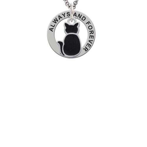 Silvertone Large 2-D Black Cat Back Always and Forever Affirmation Ring Necklace