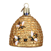 Bee Skep Glass Ornament