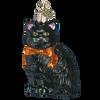 Black Cat Halloween Glass Ornament