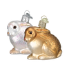 Cottontail Bunny Glass Ornament