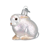 Cottontail Bunny Glass Ornament White Side