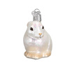 Cottontail Bunny Glass Ornament White Front