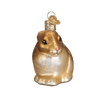 Cottontail Bunny Glass Ornament Brown Brown Front