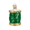 Spool of Thread Sewing Glass Ornament Green