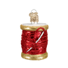 Spool of Thread Sewing Glass Ornament Red