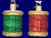 Spool of Thread Sewing Old World Christmas Glass Ornament 32104 inset