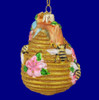 Honey Bees on Beehive Glass Ornament back