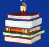 Stack of Books Education Old World Christmas Glass Ornament 32112 inset