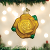 Yellow Rose Glass Ornament 36250 Old World Christmas with garland