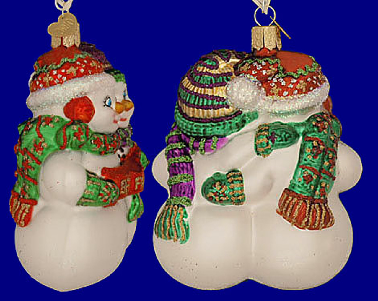 Best Friends Snowman Glass Blown Ornaments for Christmas Tree 24008 Old World Christmas Ornaments