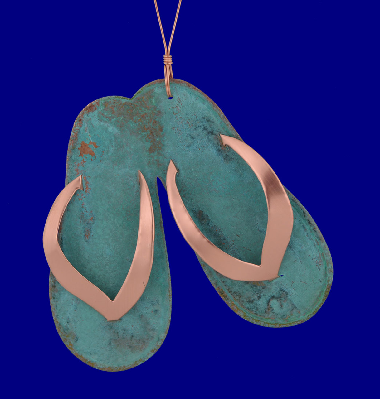Verdigris Copper Flip Flops Ornament - Made In The Usa-3449