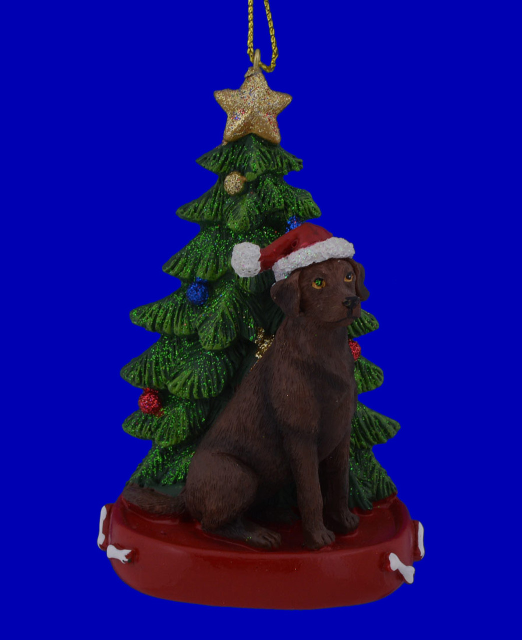 Chocolate Lab with Christmas Tree Ornament