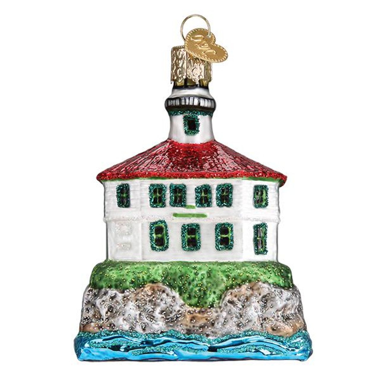 Old World Lighthouse Glass Ornament
