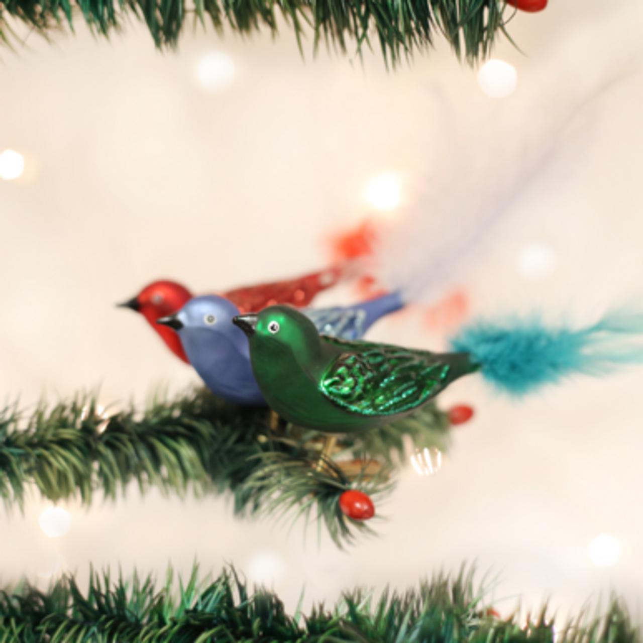 RED BRILLIANT SONGBIRD OLD WORLD CHRISTMAS CLIP ON BIRD ORNAMENT NWT 18011