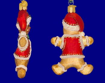 Gingerbread Boy Cookie Old World Christmas Glass Ornament 32164 inset