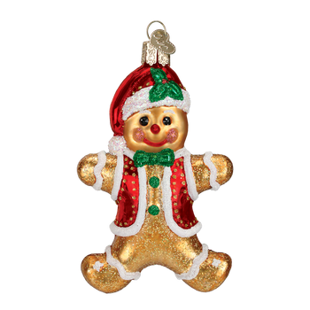 Gingerbread Boy Cookie Glass Ornament