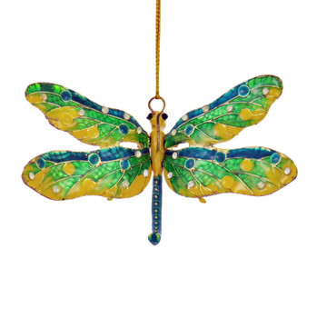Cloisonne Articulated Dragonfly Ornament, Blue, Green, Yellow