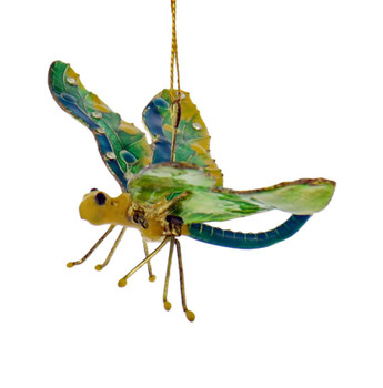 Cloisonne Articulated Dragonfly Ornament, Blue, Green, Yellow Side Front