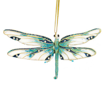 Cloisonne Articulated Dragonfly Ornament - Green, White