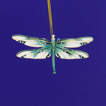 Cloisonne Articulated Dragonfly Ornament - Green, White  Top