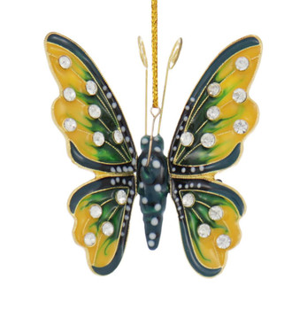 Cloisonne Articulated Butterfly Ornament, Yellow, Green, Black