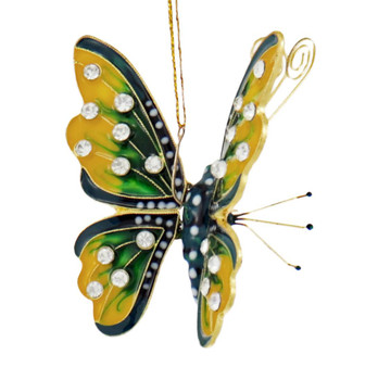 Cloisonne Articulated Butterfly Ornament, Yellow, Green, Black Side Top