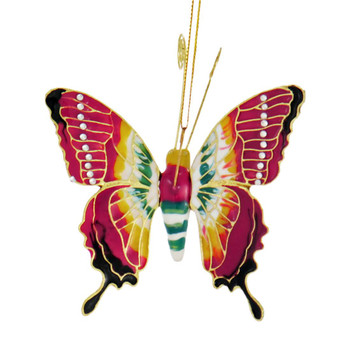 Cloisonne Articulated Butterfly Ornament - Burnt Red, Yellow