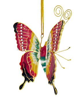 Cloisonne Articulated Butterfly Ornament - Burnt Red, Yellow Top
