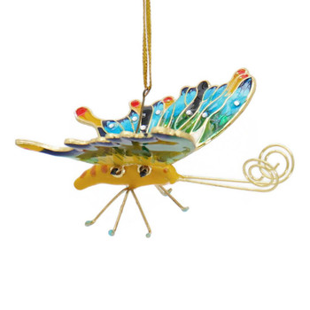Cloisonne Articulated Butterfly Ornament - Blue, Purple, Yellow pin straight