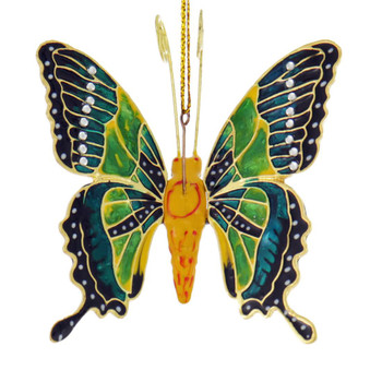Cloisonne Articulated Butterfly Ornament - Green, Yellow Body Top
