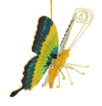 Cloisonne Articulated Butterfly Ornament - Green, Yellow Body Side