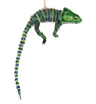 Cloisonne Lizard Ornament, - Green