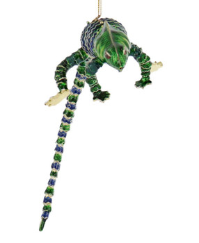 Cloisonne Lizard Ornament, - Green Front