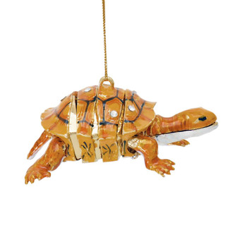 Cloisonne Articulated Turtle Ornament - Brown