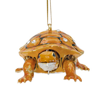 Cloisonne Articulated Turtle Ornament - Brown Front
