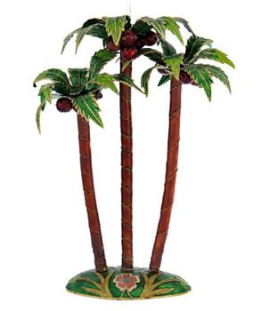 Cloisonne Palm Tree Ornament - Green Base
