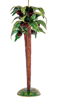 Cloisonne Palm Tree Ornament - Green Base Side