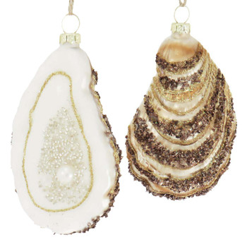 Oyster with Pearl Glass Ornament Gold Back