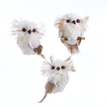 "3 pc Plush Little Creamy White with Brown Owl Ornaments, 2 1/2"", KAC2476"
