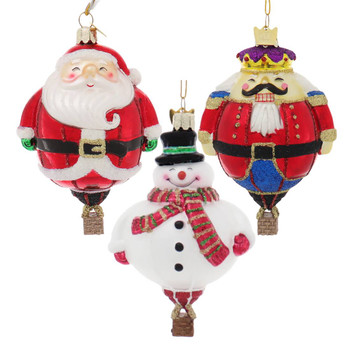 Set of 3 Holiday Hot Air Balloon Christmas Character Glass Ornaments